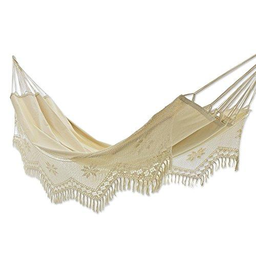 NOVICA Handmade Brazilian Natural Ecru Cotton 2 Person Hand Woven Hammock with Crochet Fringe, 'Manaus Bouquet' (single)