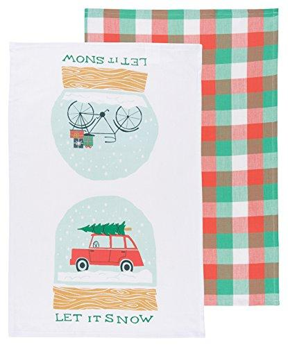 Now Designs Kitchen Dishtowel Set of Two, Let it Snow Print and Plaid