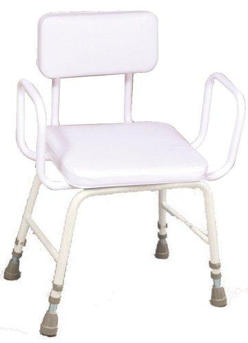 NRS Healthcare Malvern Adjustable Height Perching Stool - Extra Low with with Armrests and Padded Backrest (Eligible for VAT relief in the UK)