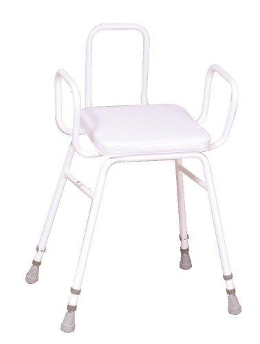 NRS Healthcare Malvern Adjustable Height Perching Stool with Armrests and Backrest (Eligible for VAT relief in the UK)