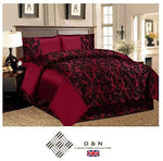 NTRADEHOUSE 4Pc Flock Bedding Set Damask Bedroom Duvet Cover Bed Valance Sheet 2 X Pillow Cases Burgundy King