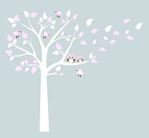 Nursery Wall Stickers by BDECOLL/Owl Standing Huge White Tree Wall Sticker Baby Nursery Bedroom Wall Art Decor Owl And Birds Decals Size 194 x 220 cm