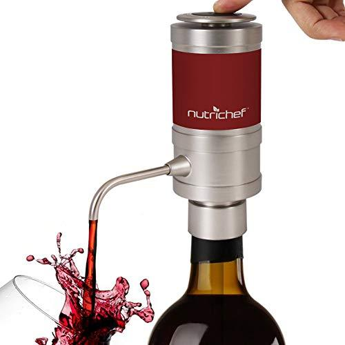 NutriChef Electric Wine Aerator Pump Dispenser Kit - Portable and Automatic Bottle Breather Tap Machine - Air Decanter Diffuser System for Red and White Wine w/ Unique Metal Pourer Spout - PSLWPMP50