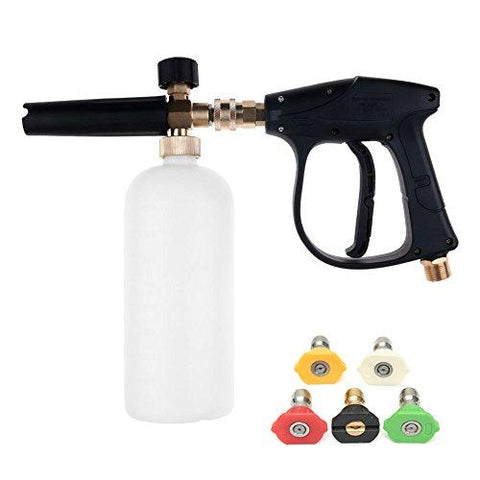 NUZAMAS High Pressure Washer Gun with 5 Water nozzle Tip & 1L Snow Foam Lance Bottle Kit for Car Floor Deck Windows Cleaning M22 Metric Male thread fitting
