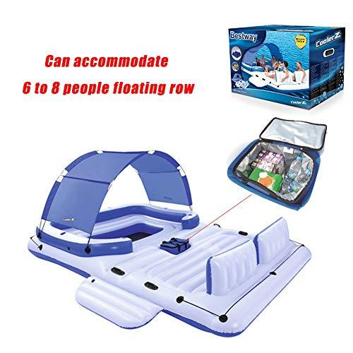 Nwlgl Large water inflatable sunscreen sunshade floating bed floating island fishing boat thicker recliner can accommodate 6 to 8 people floating row large mount pontoon