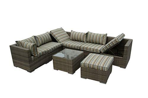 Nwn Combination Wicker Greenhouse Furniture Corner Terrace Sofa Rattan Weaving Garden Furniture Information (color : B)