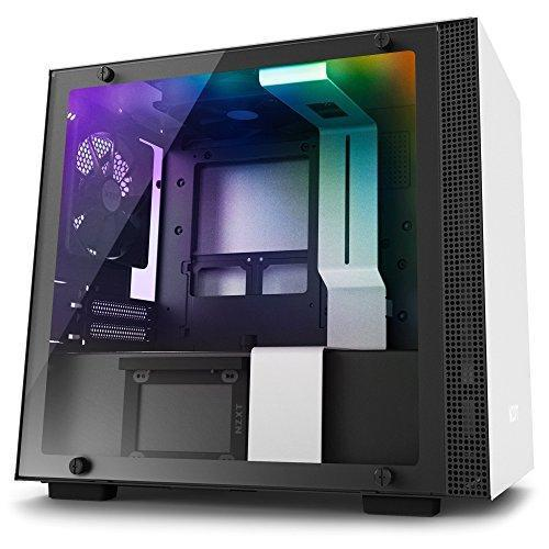 NZXT H200i White - Mini Tower Gaming PC Case, Upto mini-ITX, CAM-Powered Smart Hub with RGB LED Strip, 2x 120mm Fan - CA-H200W-WB