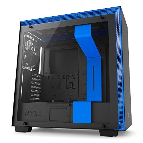 NZXT H700 Black with Blue Trim - Mid Tower Gaming PC Case, Upto E-ATX, Tempered Glass Panel, 1x 140mm Fan, 3x 120mm Fan - CA-H700B-BL