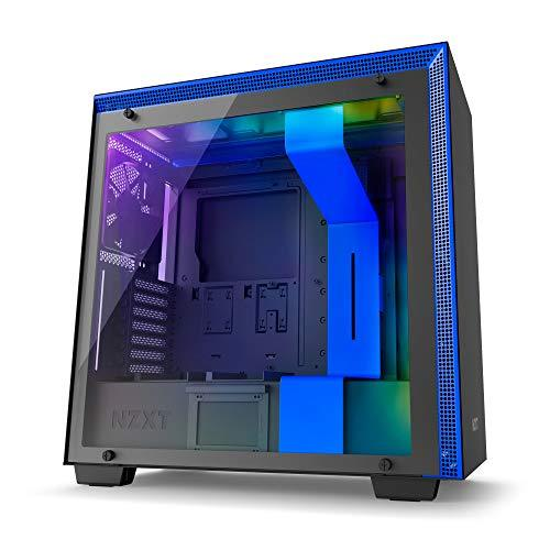 NZXT H700i Black with Blue Trim - Mid Tower Gaming PC Case, Upto E-ATX, CAM-Powered Smart Hub with RGB LED Strip, 1x 140mm Fan, 3x 120mm Fan - CA-H700W-BL