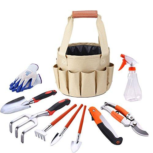 Ocamo Outdoor Garden Tools Bag Pack Set with Gloves Tote Trowel Pruners 10Pcs/Set Toolkit Pack