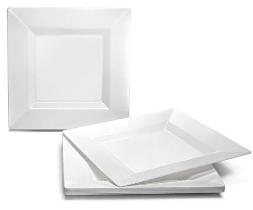 """ OCCASIONS "" 120 PACK, Square Heavyweight Disposable Wedding Party Plastic Plates - White - (120, 10.75'' Large Dinner Plate)"