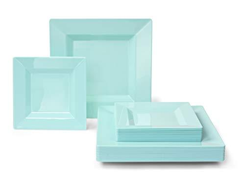 """ Occasions"" 240 Pack Disposable Square Plastic Plates Set - 120 x 9.5'' Dinner + 120 x 6.5'' Dessert (Square Turquoise)."