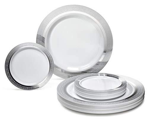 Occasions 240 Pack Heavyweight Premium Disposable Plastic Plates Set - 120 x 10.5'' Dinner + 120 x 6.25'' Dessert/Cake Plates(Palace White & Silver)