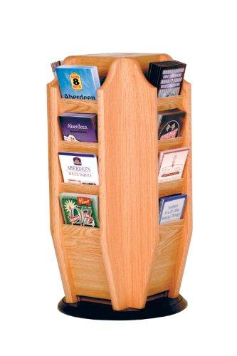 Offex Cascade Spinning Countertop Display with 16 Brochure Pockets, Light Oak