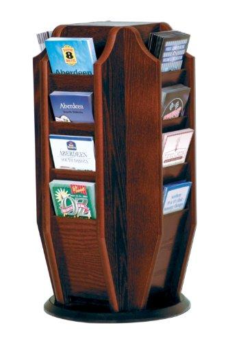 Offex Cascade Spinning Countertop Display with 16 Brochure Pockets, Mahogany