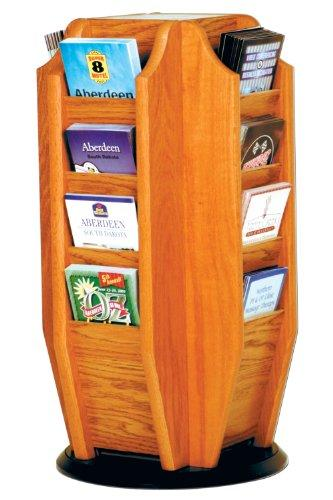 Offex Cascade Spinning Countertop Display with 16 Brochure Pockets, Medium Oak