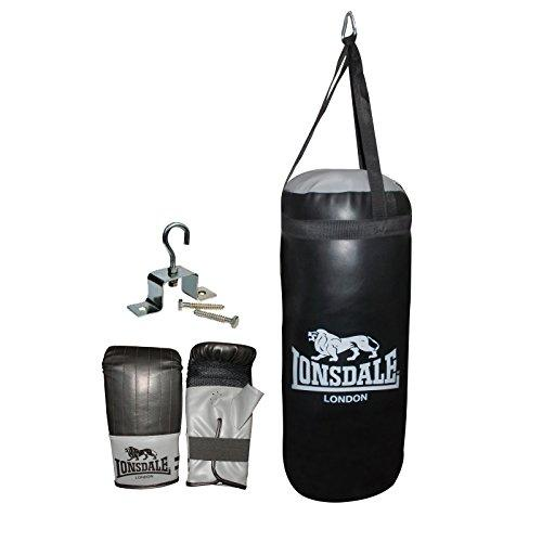 Official LONSDALE JAB JUNIOR PUNCH BAG & GLOVE SET in Black - Boxing Training
