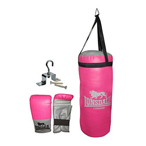 Official LONSDALE JAB JUNIOR PUNCH BAG & GLOVE SET in Pink - Boxing Training