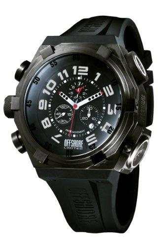 Offshore Men's OFF001C Force 4 Black PVD Dual Time Chronograph Rubber Watch