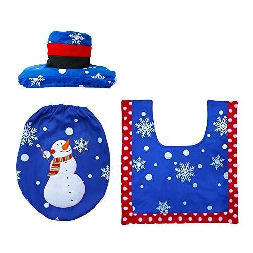 Ofone Christmas Snowman Santa Toilet Seat Cover, Tank Cover, Toilet Paper Box Cover, Christmas Decoration Set Bathroom (Snowman)