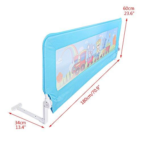 OGORI Toddler Child Safety Bedguard Folding Infant Baby Bed Rail Protection Guards Ne (Blue)