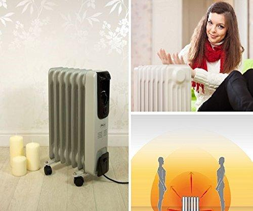 OIL FILLED PORTABLE ELECTRIC RADIATOR HEATER 7/9 FIN ADJUSTABLE THERMOSTAT TIMER (9 FIN 200W)