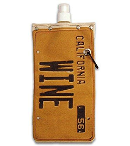 Old California License Plate Wine and Beverage Canvas Reusable Flask Bottle & Tote Carrier Holds 750ml/26oz