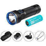 Olight® Max 3200 Lumens R50 PRO Seeker Rechargeable Side-switch LED Torch Flashlight with Cree XHP70 LED, Holster, 4500mAh 26650 Battery, USB Adapter and Magnetic Charging Cable(OPTION 1: R50 PRO Standard Set)