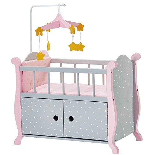 Olivia's Little World - Baby Doll Furniture | Nursery Crib Bed with Storage (Grey Polka Dots)
