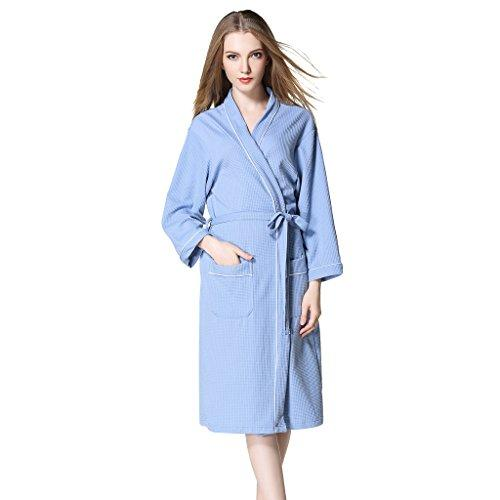 Olivia's Stylism Boutique Unisex Cotton Waffle Dressing Gown for Women Trun Down Nightwear Bath Robes Spa Hotel Blue
