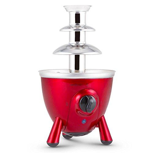 oneConcept Cioccolata di Trevi Chocolate Fountain • 60W • 17 cm Tall Tower • 3 Floors • 3 Tier with 2 Modes of Operation • Separately Adjustable Feet • Stainless Steel Housing and Tower • For use with Chocolate Cheese or Barbecue Sauce • Red