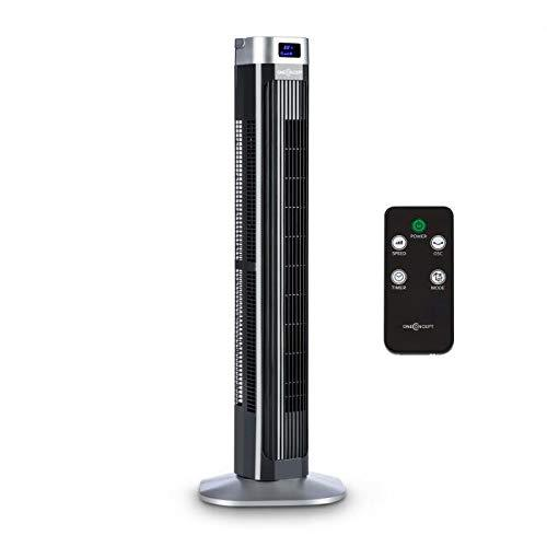 OneConcept Hightower 2G Column Fan • Standby Fan • 50W • Switchable Oscillation by 45° • Timer • LED Display • 3 Speed Stages • 3 Different Modes • Space-Saving • Handle • Remote Control • Black