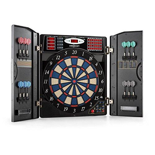 oneConcept Masterdarter • Darts • Electronic dartboard • Electronic darts machine • 38 game modes • 211 game variants • Virtual opponent • 12 soft tip darts • 2 doors in a wooden look • black-grey