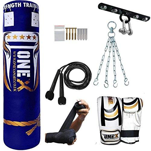 5ft Boxing Punch Bag Gloves Bracket Chains Filled Heavy Gym Kick