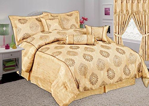 Online Bedding Store 6 Pcs MALTA Comforter Set.Bedspread, Pillow Cases, Valance Sheet, Cushion and Neck Roll (Single, Coffee)