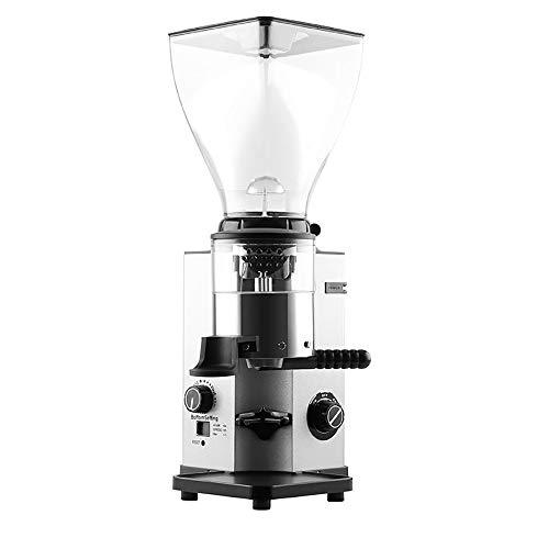 OOFAYWFD Coffee grinder, 250W electric stainless steel disc grinder with display 1.5KG capacity 44 gear adjustment,Silver