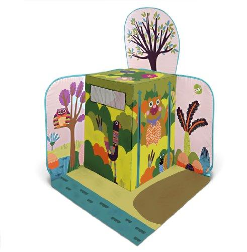 Oops Little Helper Pop-Up Play Tent in Vibrant Woodland Wonderland Animal Design with Surrounding Scene