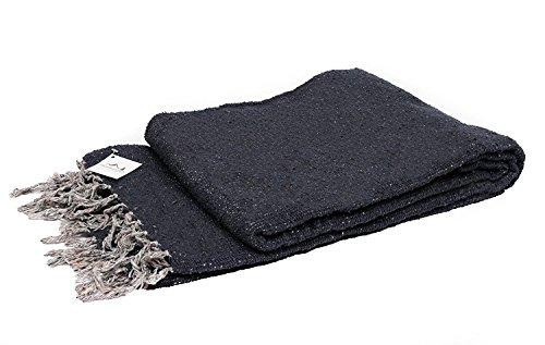 Open Road Goods Handmade Charcoal Black Yoga Blanket - Thick Mexican Blanket or Throw - Made for Yoga!