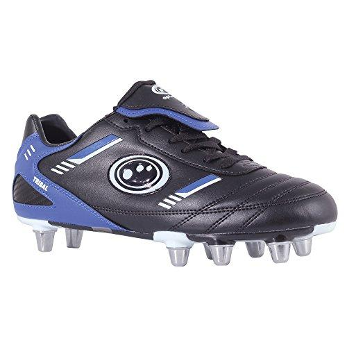 Optimum Men's Tribal Moulded Stud Rugby Boots, Black (Black/Blue), 9 UK (43 EU)