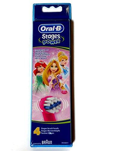 Oral-B Braun Stages - Disney Princess Design, electric toothbrush heads for children (Pack of 4)