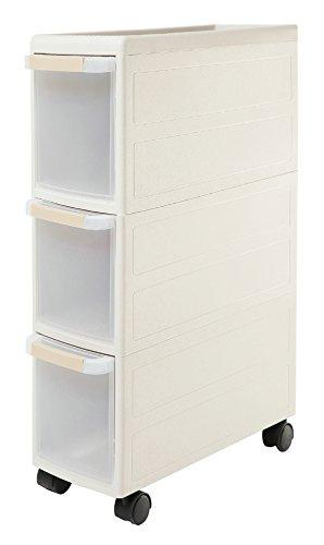 Orolay Plastic Storage Trolley with Drawers on Wheels Cabinet Rack with Drawers (Grey-3Tier)