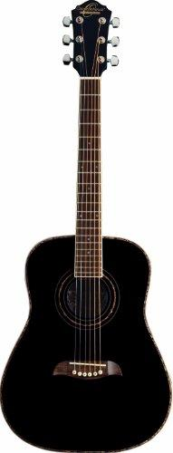 Oscar Schmidt 6 String OGHS 1/2 Size Dreadnought Left Hand Acoustic Guitar. Black (OGHSBLH-A)