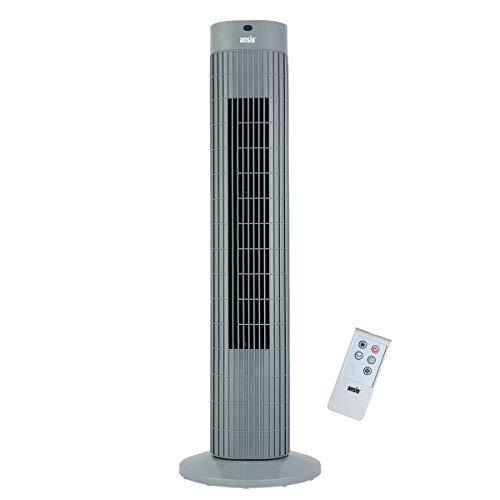 Oscillating Tower Fan with Remote Control and 3-Speed 3-Wind Mode with Long 1.75 m Cable, 30-Inch. Grey (Batteries NOT Included)