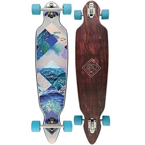 Osprey Diamond Blue Complete Twin Tip Longboard Skateboard, Brown, 38.4 x 10 Inches, 70 x 51 Wheels