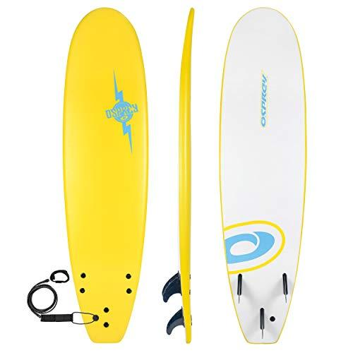 Osprey Foam Surfboard Soft Foamie Complete with Leash and Fins, Bolt-Yellow, 7.2 ft