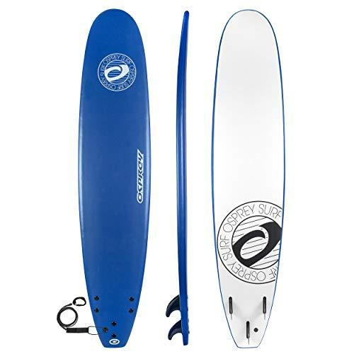 Osprey Unisex's Beginners Soft Foamie Surfboards, Complete with Leash and Fins, Blue, 9 ft