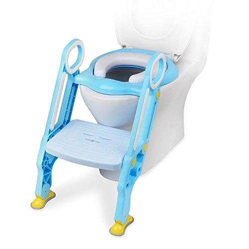 Ostrich Potty Training Seat Chair, Toilet Step Trainer Ladder for Kid and Baby, Toddlers Toilet Step Stool for Girls and Boys (Blue)