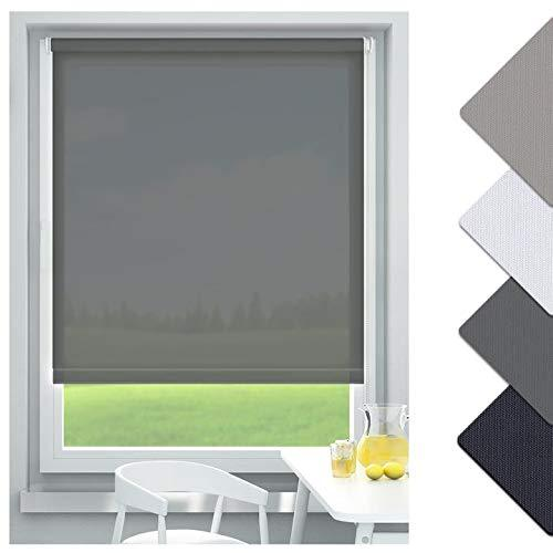 OUBO, translucent, blackout roller blind, no drilling required, with a clamping carrier, Fabric, grey, 80 x 170 cm (BxH)