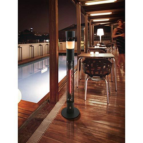 Outdoor 1500W Infra-red Patio Heater with Extra Loud Bluetooth Music Speaker and Colour Changing LED Light, Supplied with Remote Control, IP44