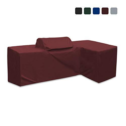 Outdoor Kitchen Cover 18 Oz Waterproof - Left - Customize Your Kitchen Cover with Any Dimensions - 100% UV & Weather Resistant Outdoor Kitchen Island Cover (Burgundy)